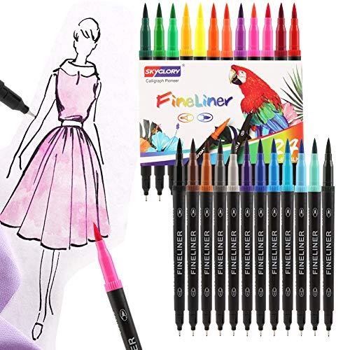 Hospaop Dual Brush Pen Set, 24 Farben Doppelfasermaler, Doppelfilzstifte, Aquarell Farben Pinselstifte, Calligraphie Brush Pen für Bullet Journal Kalligraphie,Fasermaler[3 mm] und Fineliner[0,4 mm]