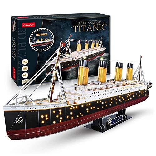 3D-Puzzles, LED-Titanic-Spielzeug-Modellbausätze Schiff, schwierige Puzzles der Puzzle-Familie und Kreuzfahrtschiff 3-D-Puzzles Geschenke Dekoration 266Stücke