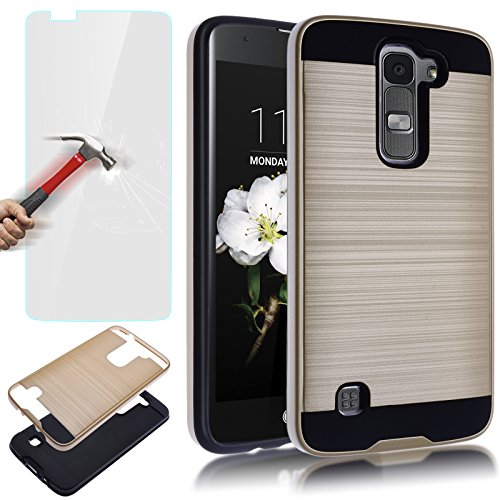 AUU LG K7 Case, LG Tribute 5 Case, Dual Layer Slim Brushed Metal Texture Full Body Impact Resistant Shockproof Heavy Duty Cover Shell for LG K7 Tribute 5 Gold +Tempered Glass Screen Protector
