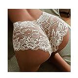 Linyuex Vestido de Bragas Sexy para Las Mujeres Black Blanco Cordón Floral Flor Ropa de la Ropa Interior Fin Thin Hollow Panties Elástico Underwear Plus Tamaño 5XL