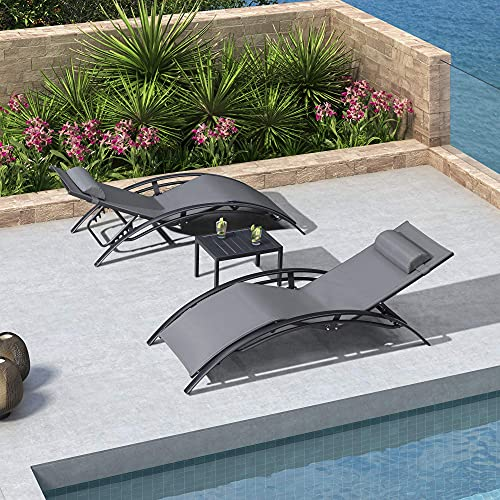 PURPLE LEAF Patio Chaise Lounge Set of 3 Outdoor Lounge Chair Beach Pool Sunbathing Lawn Lounger Recliner Chiar Outside Tanning Chairs with Arm for All Weather, Side Table Included, Grey