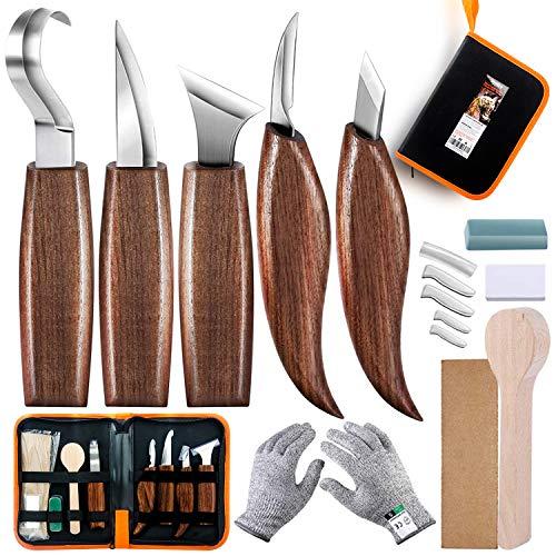 Juego de herramientas para tallar madera de 18 piezas, herramienta de gancho, herramienta de madera, herramienta de grano, herramienta oblicua