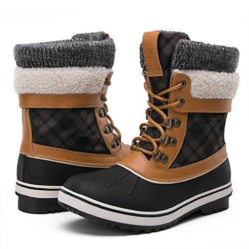 GLOBALWIN Women's Winter Snow Boots (7.5 D(M) US Women's, Black/Camel)