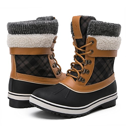 GLOBALWIN Women's Winter Snow Boots (7.5 D(M) US Women's, Black/Camel)