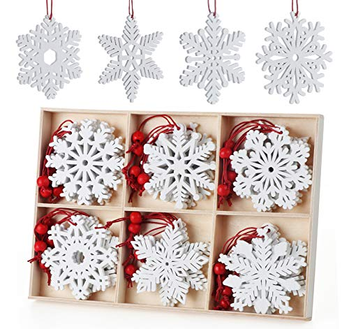 Anstore 30 Pieces Wooden Snowflake Embellishments Christmas Snowflake Ornaments Christmas Tree Hanging Ornaments Wood Snowflake for Crafting Christmas Party and Home Decor