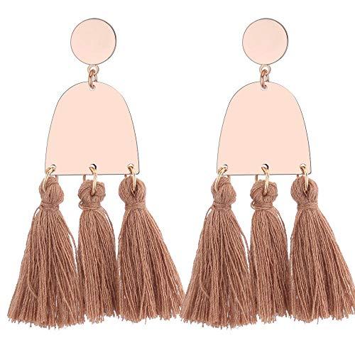 Idolyu Zubehör Trend Retro ethnischen Stil Persönlichkeit Wolle Quaste Ohrringe Damen Ohrringe Kaffee