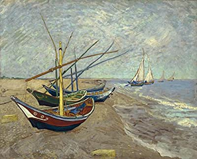 Wieco Art Fishing Boats on The Beach at Les Saintes Maries Canvas Prints of Van Gogh Oil Paintings Giclee Artwork for Wall Decor Seascape Picture Print on Canvas Art