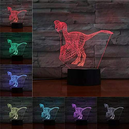 Novelty 3D Lamp Illusion Night Light LED Bulb USB RGB Multicolor Dinosaur Home Christmas Kid Toy Gifts for Children Home Deocr