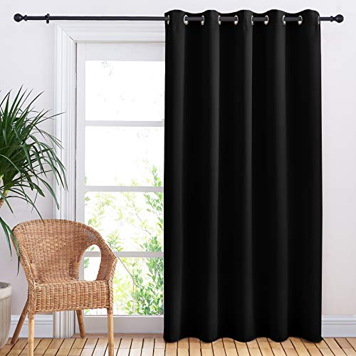 NICETOWN Blackout Curtain for Sliding Door, Patio Door Curtains, Thermal Insulated Wide Drapes/Draperies for Bedroom (Black, 70 by 84 inches,)