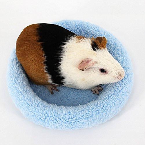 TUDUZ Kleintiere Hütten Pantoffel Form Haustier Bett Kleine Tier Haus Nest Gemütlich Warm Plüsch Baumwolle Schlafen Bett Höhle Zubehör für Hamster Meerschweinchen Chinchilla (Large, Blau)