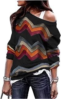 Women's Zig Zag Sweater Long Sleeve Chevron Pattern Knitted Shirts Tops