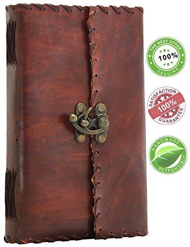 SouvNear - Diario di viaggi in pelle con serratura 9 X 5 Brown