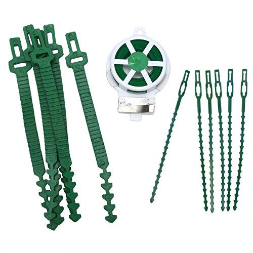 Lot de 3 attaches de câble en plastique vert pour le jardin