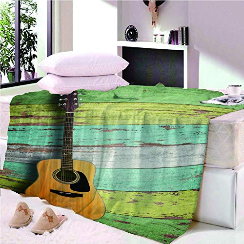 YASHASHII Blanket 3D Guitar-Log Stripes Printed Flannel Fleece Blanket for Kids Teens Adults Soft Fuzzy Push Blanket for Holiday Bed Couch Double Size 180 * 200 CM