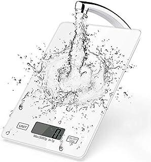 Balance Cuisine Électronique, 11 LB / 5 kg Balance de Précision Cuisine, Commande Tactile Intelligente, Panneau en Verre T...