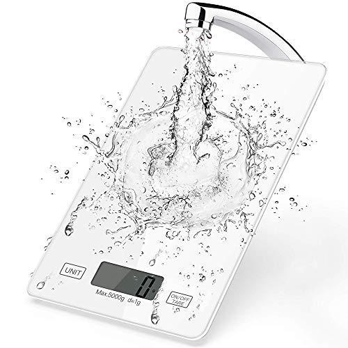 Básculas de Cocina Digital, Balanza Electrónicas de 11 LB / 5 kg para Cocinar Alimentos Horneados, Control Táctil Inteligente, Panel de Vidrio Templado, Unidades Múltiples, Función de Tara (Blanco)