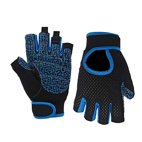 Cool Shock Absorption Half-Finger Mountain Bike Fitness Gloves Sports Outdoor Fishing Climbing Training Breathable Non-Slip Fitness Gloves (Color : Blue, Size : S)