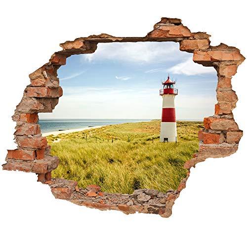 Wandtattoo - Wandbild Wanddurchbruch mit Aussicht auf Dünen mit Leuchtturm und Meer 3D Optik - Aufkleber für die Wand - Wanddekoration (50 x 41 cm, Motiv: Leuchtturm)