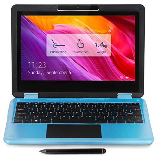 AWOW 11.6 Inch Laptop Computer Touchscreen 2 in 1 Laptop PC, Windows 10 in S Mode Intel Celeron N3450 8GB RAM 256GB SSD with Stylus Pen, 1920 x 1080 FHD IPS, 1.4a HDMI, BT 4.2, USB3.0, Type-C(Blue)