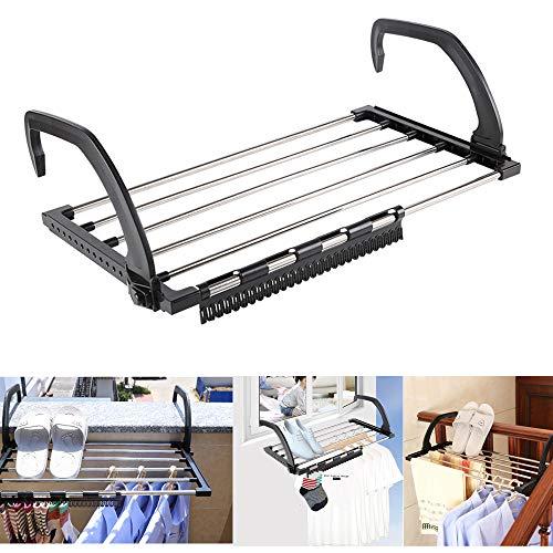 Tendedero plegable de acero inoxidable para colgar sobre radiador, ventana, baño para secar ropa húmeda (59 x 32 cm)