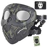 ATAIRSOFT Protective Airsoft Military Tactical Paintball Full Face Ninja Skull Máscara de Malla con Lente de PC Ojo para Halloween Cosplay Caza Disparos Deportes al Aire Libre MCBK