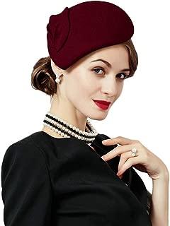 Flower Womens Dress Fascinator Wool Felt Fedora French Pillbox Hat Party Wedding Teardrop Beret