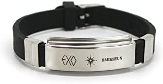 EXO Kpop Titanium Silicon Wristband with lomo Cards Anti-Rust and Water Prove