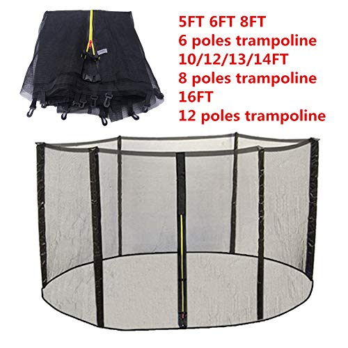BIN Replacement Safety Net Enclosure Surround outside Netting For 5/6/8/10/12/13/14/16 FT Garden Trampoline Net Only Black,5FT for 6 poles trampoline