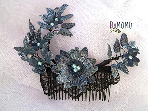 Tocado Azul Indigo Peineta Novia Flores Porcelana. Adorno Flores Elfic