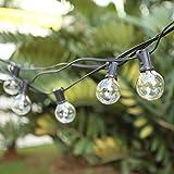 Guirlande Lumineuse Intérieur et extérieur, Guirlande Guinguette Raccordable 7.6M 25 G40 Ampoules étanche avec 2 Ampoules Rechange pour Fête Jardin Mariage Patio [Classe énergétique A++]