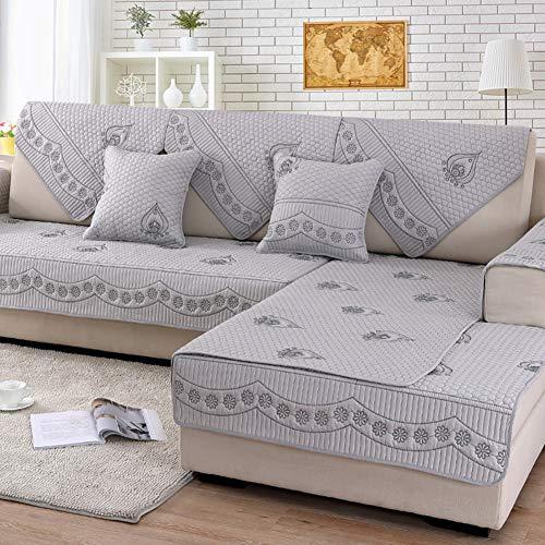 YEARLY 100% Coton Housse de canapé, Anti-dÉrapant Broderie Canapé Protection Jacquard Housses Carré Long Textile Multi-Size Salon Couverture pour Salon-Gris Pillow 45x45cm(18x18inch)