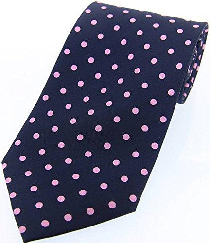 David Van Hagen Cravates à pois bleu marine/rose twill de soie de