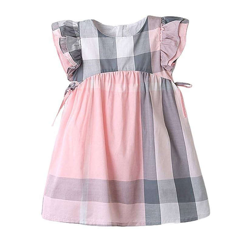 MOGOV Toddler Kids Baby Girls Summer Dress Plaid Print Bowknot Party Princess Dresses 2 Colors for Options rynldvke078402