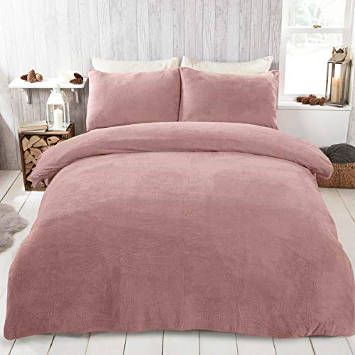 Brentfords Teddy Fleece Duvet Cover with Pillow Case Thermal Fluffy Warm Soft Bedding Set, Blush Pink-King