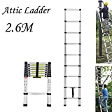 2.6M/8.5FT Telescopic Loft Ladder Aluminium Attic Ladder Extendable,Max Load 150kg, EN131 Standard