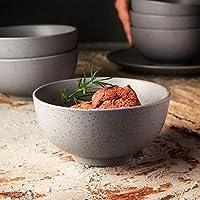 Salad bowl ceramic 日本セラミックボウルホテルのシグネチャーレストランレトログレー5インチモデル創造的家庭の仕事 (Color : Gray, Size : 5 inch)