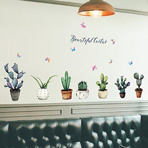 Pegatinas de pared de vinilo extraíbles con diseño de cactus de dibujos animados, para dormitorio, sala de estar, guardería, dormitorio de los niños
