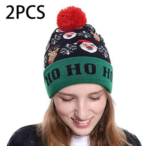 Led-Beleuchtung Gestrickter Hässlicher Pullover Holiday Christmas Beanie Cap - 3 Blinkmodi (2 Stück)