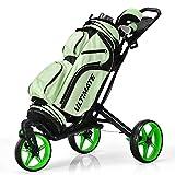 Tangkula Golf Push Cart with 360° Swivel Front Wheel, Aluminum Collapsible 3 Wheels Golf Pull Cart, Golf Trolley w/Elastic Strap, Scoreboard Storage & Foot Brake, Height-Adjustable Handle (Green)