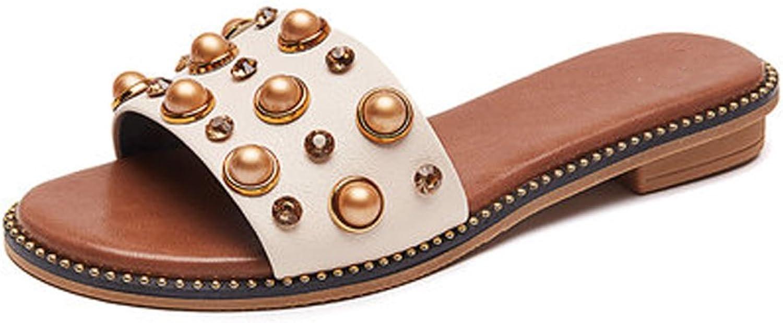YUBIN Sandals Women's shoes Outer Wear Fashion Wild Net Red Flat Flat Heel Student Half Drag (Size   35)