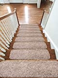 Soft Shaggy Carpet Stair Treads NON-SLIP MACHINE WASHABLE Mats/Rugs, 22x67cm, 30mm Thickness (Beige, 15)