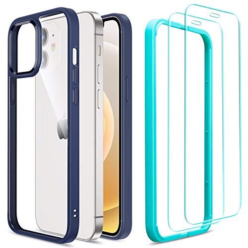 ESR Funda Híbrida Compatible con iPhone 12/12 Pro 6.1'' con 2 Protector de Pantalla, Anti-Amarillea y Anti- Arañazos, Carcasa Silicona, Azul Marino