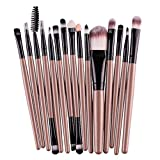 LZJE 15Pcs Pinceles de Maquillaje Set Eye Shadow Foundation Powder Eyeliner Eyelash Lip Make Up Brush Cosmetic Beauty Tool Kit, JH