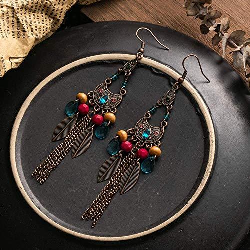 Épingles à oreilles Vintage Boho Long Gland Boucles D'oreilles Perles Colorées Boucles D'oreilles Ethniques Pour Femmes Filles Indien Accessoires 2019