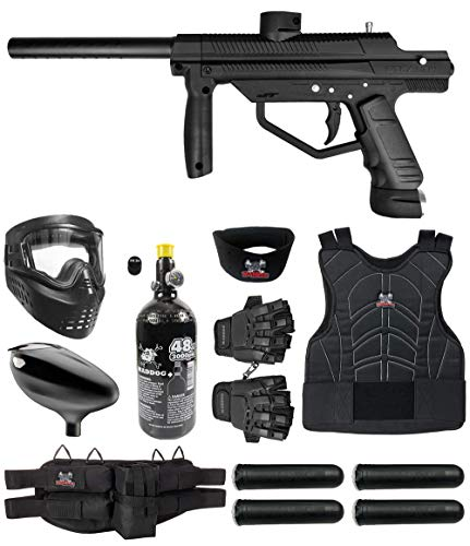 Maddog JT Stealth Semi-Automatic .68 Caliber Protective HPA Paintball Gun Starter Package - Black