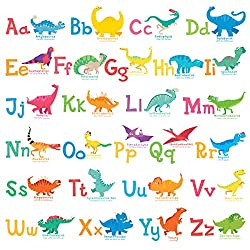 8. DECOWALL A-Z Dinosaur Alphabet Removable Wall Stickers