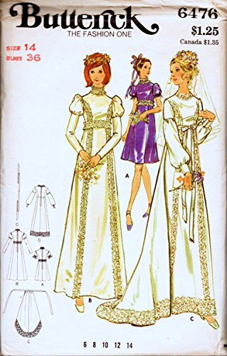 Butterick 6476 Misses Wedding Gown with Detachable Train and Bridesmaid Dresses Vintage Sewing Pattern Check Offers for Size