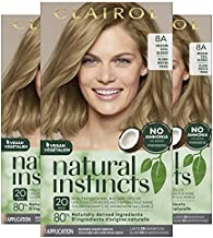 Clairol Natural Instincts Semi-Permanent Hair Color, 8A Medium Cool Blonde, Pack of 3