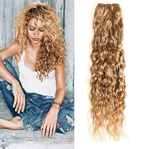 XCCOCO One Bundle Honey Blonde Water Wave Bundles Brazilian Virgin Curly Wet and Wavy Hair Weave 100% Unprocessed Human Hair Extensions 20inch,100g/bundle