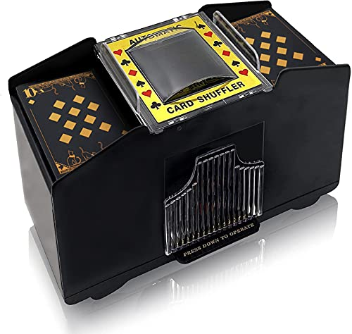 Nileole 1-4 Decks Automatic Card Shuffler, Battery-Operated Electric Shuffler for UNO, Texas Hold'em, Poker, Home Card Games, Blackjack, Home Party Club Game (1-4 Deck)